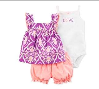 🚚 *24M* Brand new Carter's 3-Piece Bodysuit & Diaper Cover Set For Baby Girl
