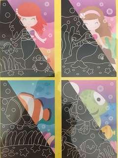 Scratch Art <Pack of 4> Under The Sea