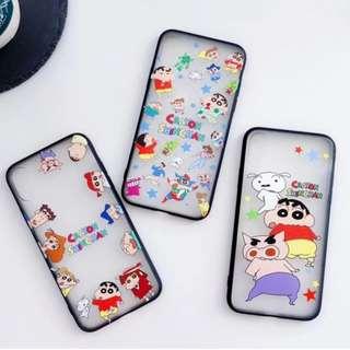 手機殼IPhone6/7/8/plus/X : 蠟筆小新全包黑邊蠶絲紋軟殼