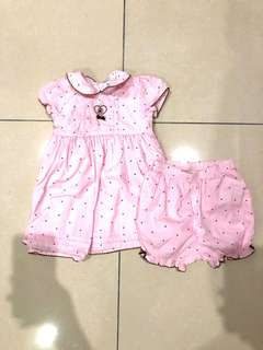 Carter's polka dot pink dress (12 mths)