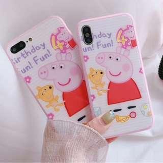 手機殼IPhone6/7/8/plus/X : Peppapig小豬粉色全包邊玻璃背板殼
