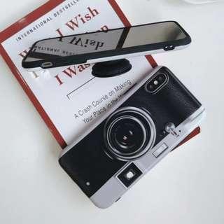 手機殼IPhone6/7/8/plus/X : 創意相機造型配氣囊支架全包邊磨砂軟殼