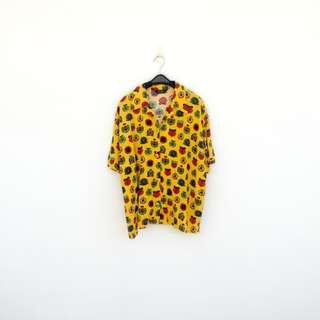 二手 黃色 印花 棉質 襯衫 明太子 625
