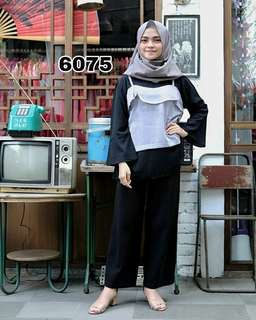 💞Redi Jakarta💞 Blouse 6075 grey Rp84.000. Bhn moscrepe Ld100cm p65cm fit to L