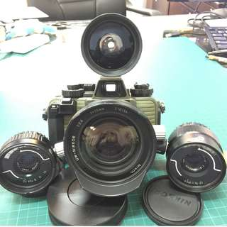 Nikonos V Green Body with Nikkor 15/2.8, 35/2.5 & 80/4 lens