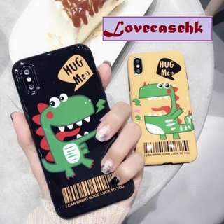手機殼IPhone6/7/8/plus/X : 可愛小恐龍全包黑邊光面軟殼