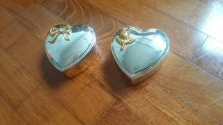 "Jewelery silver plated 3"" heart box"