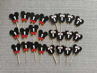 🚚 Mickey Minnie 12pcs Cupcake Toppers with Customized Age