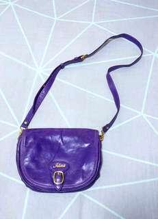 Jill Scott Purple Leather Pouch Handbag 紫色 真皮 手袋