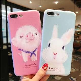 (W)手機殼IPhone6/7/8/plus/X : 可愛小豬小兔全包邊磨砂軟殼