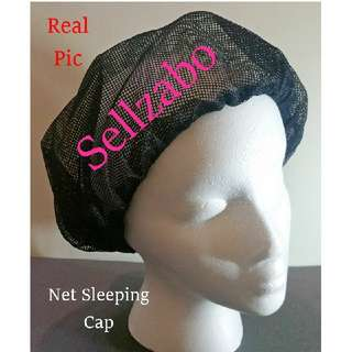 Protect Sleeping Hair Cap : Black : Mesh Net Netted : Sleep : Night : Treatment : Protection : Protecting : With Coconut Oil : Anti Messy : Damage : Hat : Head : Smooth : Frizzy : Dry : Colour : Sellzabo