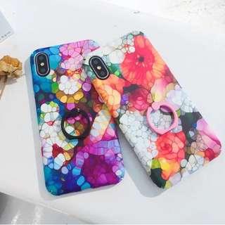 (W)手機殼IPhone6/7/8/plus/X : 水彩花朵配指環全包邊磨砂硬殼