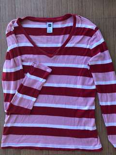 Red & white striped long sleeves