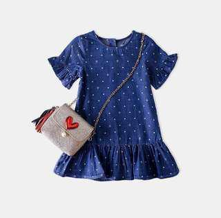 【BABYWEAR】【CLOTHING】【GIRL】PCD00022 BABY GIRL DENIM SAILOR HEART DRESS