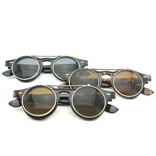 kaca mata  frame glasses retro vintage steam punk flip up