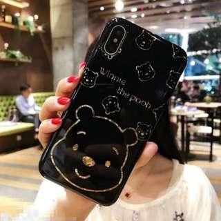 (W)手機殼IPhone6/7/8/plus/X : 維尼熊Winniethepooh烤瓷電鍍全包邊軟殼