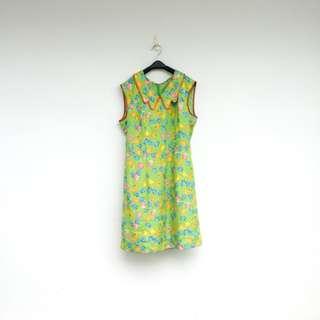 二手 綠色 印花 洋裝 明太子 625