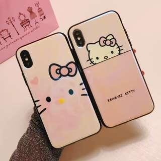 (W)手機殼IPhone6/7/8/plus/X : HelloKitty吉蒂貓藍光全包黑邊玻璃背板殼