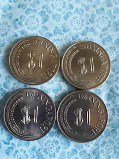 S$1 Lion Head Coin set 1981,82,83,84