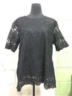 Black Lace Long Blouse