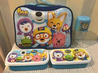 Pororo lunchbag with food & water container