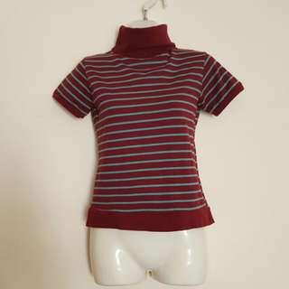 🚚 酒紅色高領條紋氣質上衣