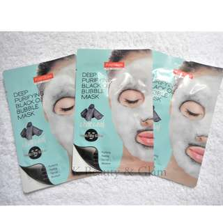 PUREDERM Deep Purifying Black O2 Bubble Mask Charcoal