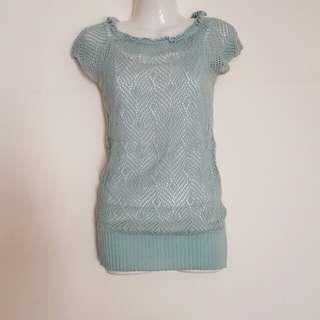 🚚 天空藍 時尚可愛兩件式洞洞裝流行上衣