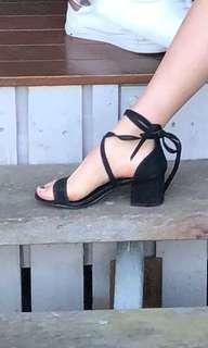 Black tie up heeled sandals