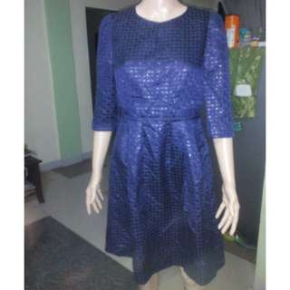 Navy Blue Semi Quilted Babydoll Dress