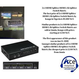 2x4 HDMI Splitter HDMI 1.4b Splitter Switch Matrix