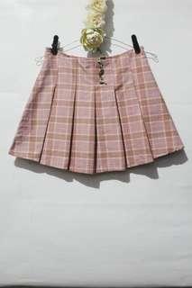 Korean style checkered skirt