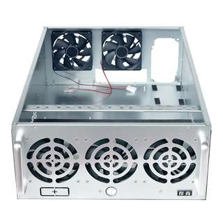 NEW 6-8 GPU Fully Enclosed Steel Crypto Mining Rig Case With 5 High Powered Rig Fans