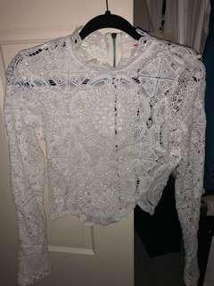 White crochet crop size 8