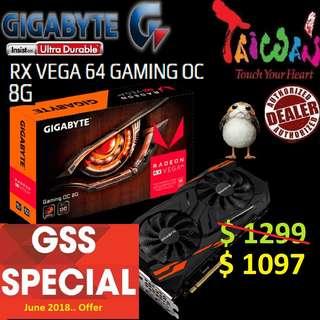 Gigabyte RX VEGA 64 GAMING OC 8G.