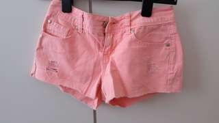 Pink Ripped Jeans Shorts