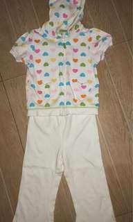Carters hearts multi colors hoodie set