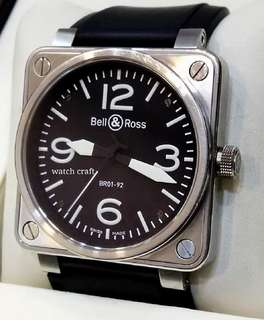Preloved Bell & Ross BR01-92 Automatic  46mm Full Set Year 2012