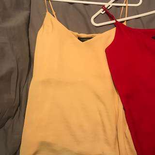GLASSONS CLASSIC YELLOW AND RED CAMI TOPS