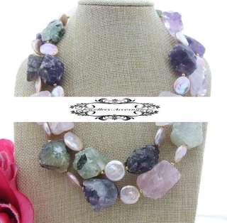 Double Layers Lustrous Genuine Baroque Coin Pearls Amethyst, Prehnite,Rose Quartz Crystals & Jade Necklace 雙層光亮真扁圓巴洛克珍珠紫水晶,芙蓉晶,葡萄石水晶晶石, 玉石長項鍊