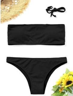 zaful black bandeau bikini