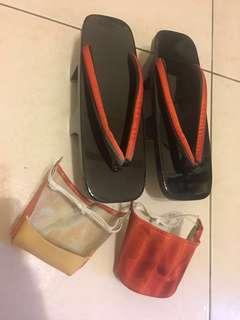 全新 日本黑紅條紋高腳木屐/版型極美/鞋底黃銅家紋/附成套布紋雨天防水套