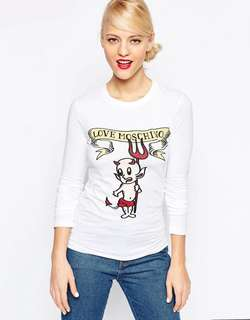 Love Moschino devil long sleeve tee size 44 * best fit size m