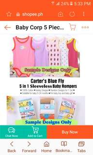 Carter's 5 Piece Set Sleeveless Onesie (Random)