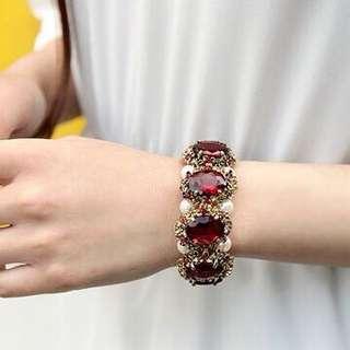 [Kai]蝶蝶飾品 復古個性時尚款祖母綠/紅寶石鑲嵌珍珠手鐲手鍊手環