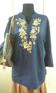 Ladies Plus Size Top with front Embroidery