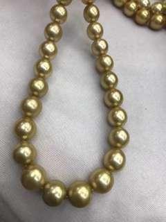 菲律賓濃金海水珍珠9.8-12mm項鏈