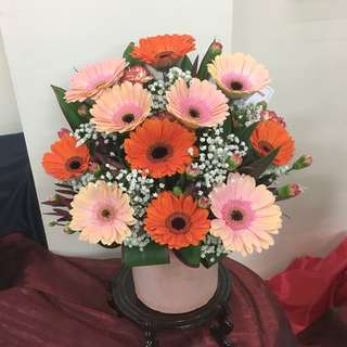 Fresh Flower Centerpiece in Gerbera Daisy Peach and Orange with Baby Breath and Carnations / Table Centrepiece