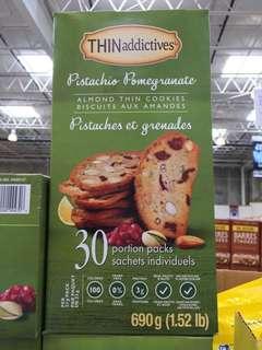 🇨🇦加拿大代購🇨🇦THIN addictives Pistachio Pomegranate Almond Thin Cookies 開心果石榴杏仁餅乾 30包裝 690g