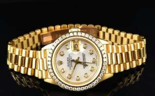Yellow Gold Pre-owned 26m President Datejust 18k Diamond Watch
